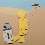Star Wars given the Paper Treatment by Eric Powers - R2D2 + C3PO