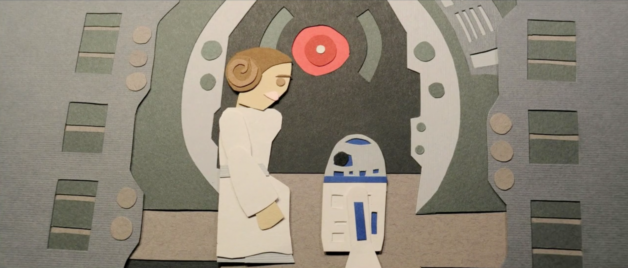 Star Wars given the Paper Treatment by Eric Powers - Princess Leia + R2D2