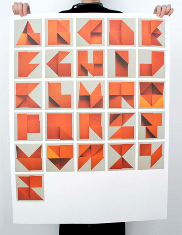 Tim Fishlock Origami Alphabet Relief