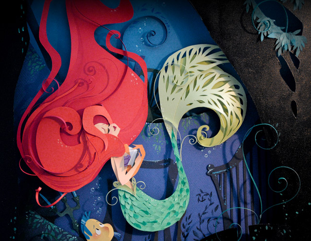 the little mermaid a layered paper illustration by brittney lee