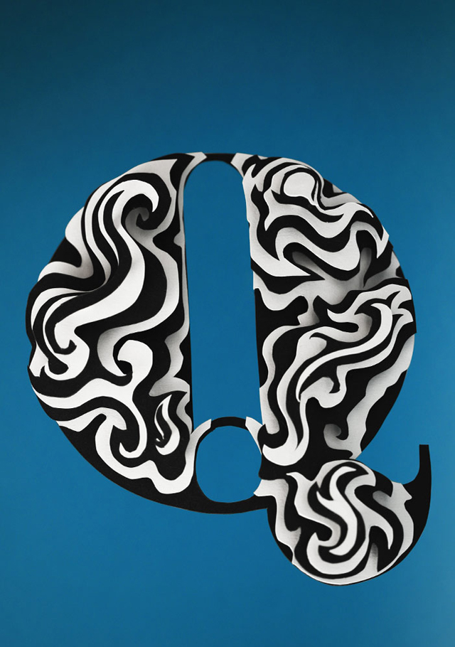 3D Alphabet Paper Sculptures by Jerome Corgier