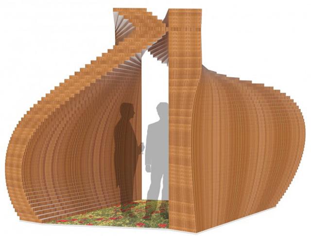 Cardboard Pop Up Chapel in Central Park