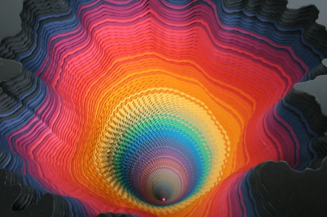 Colorful Three-Dimensional Paper Explosions by Jen Stark for PULSE Los Angeles