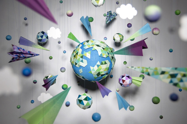 paper planets, paper planes, paper clouds, paper stars, paper universe, white background
