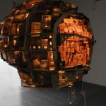 A Brain as City build out of Cardboard from the Outside