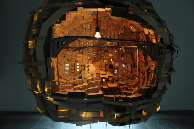 A Brain as City build out of Cardboard from the Inside