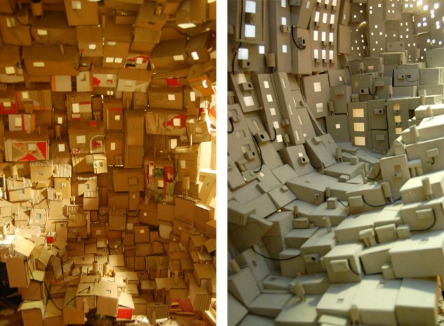 A Brain as City build out of Cardboard - Close Ups