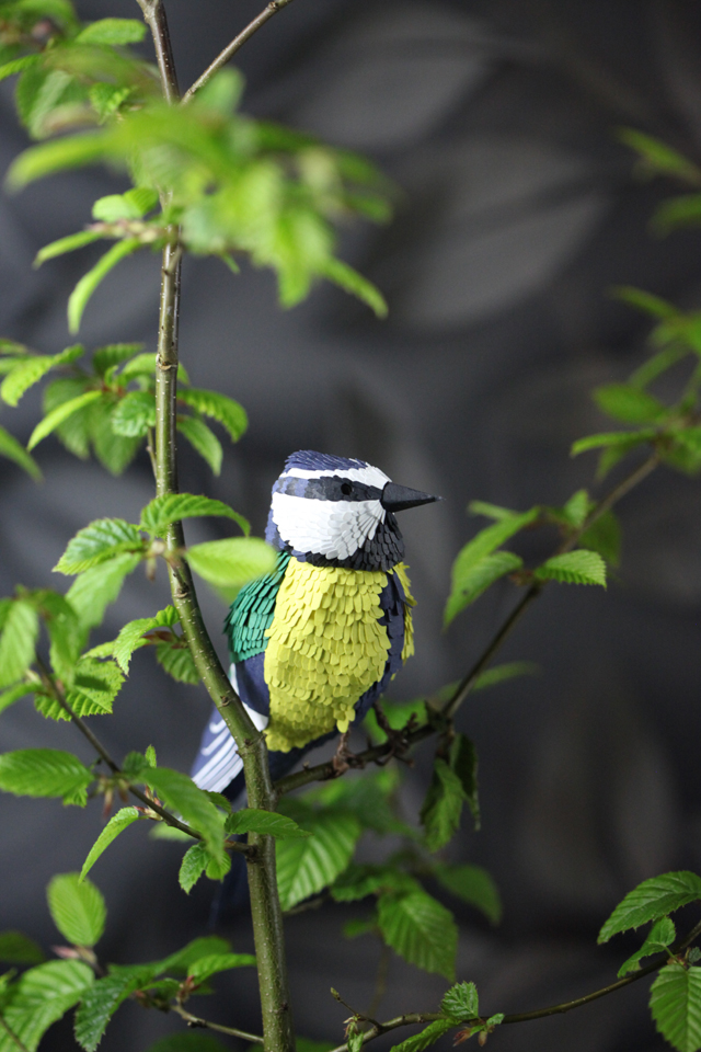 Paper Tomtit Sculpture By Kiki Peeters