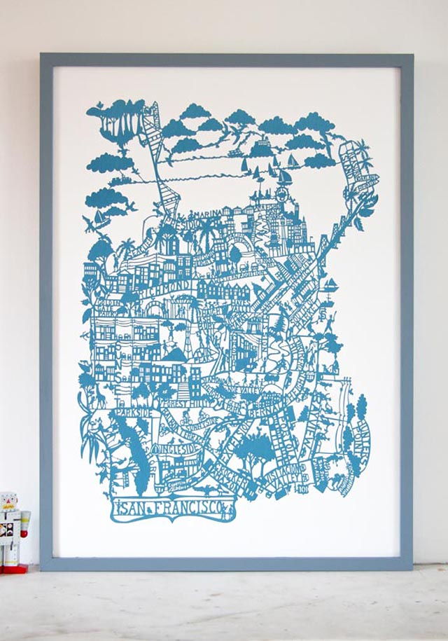 Famille Summerbelle: San Francisco Paper Cut Map