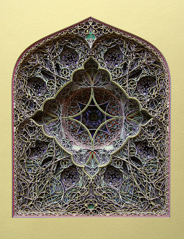 Intricate Laser Cut Stained Glass Paper Windows
