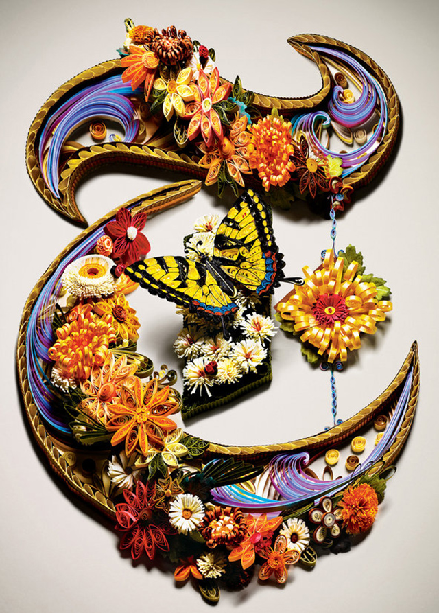 "Second Nature: Quilled NYT ""T"" by Sherry Rodehaver"