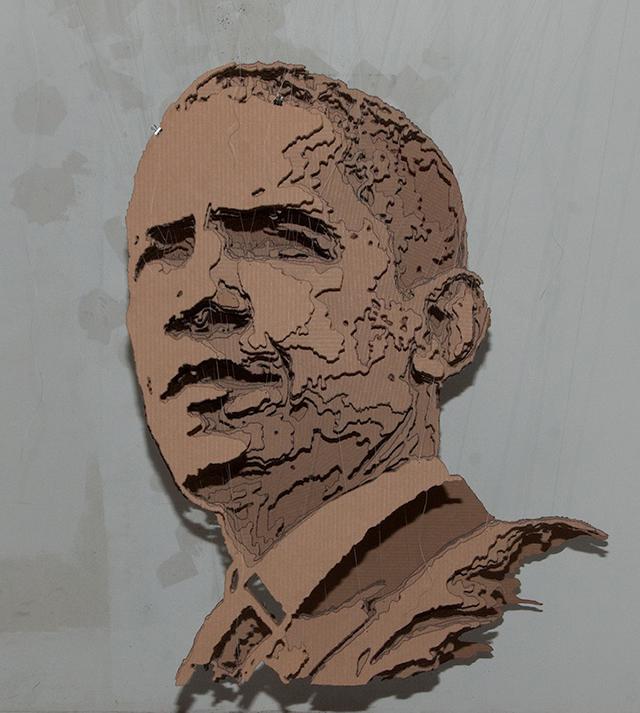 President Obama Cardboard Paper Sculpture strictlypaper