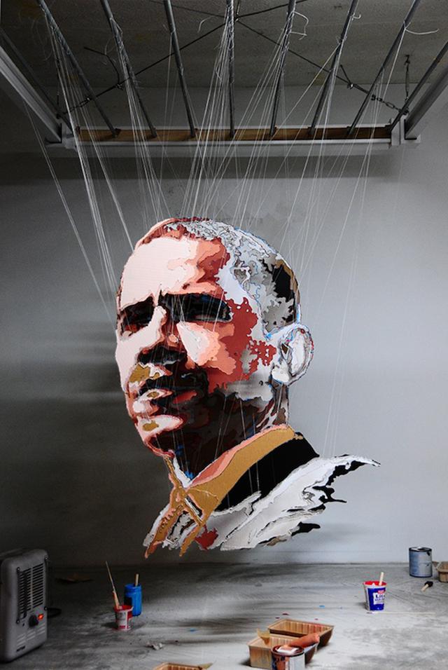 President Obama Cardboard Paper Sculpture
