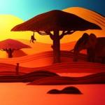 Layered Paper Savanna Landscape