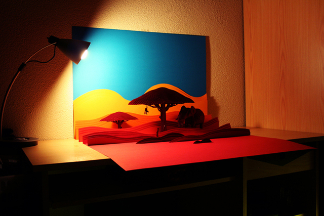Layered Paper Savanna Landscape