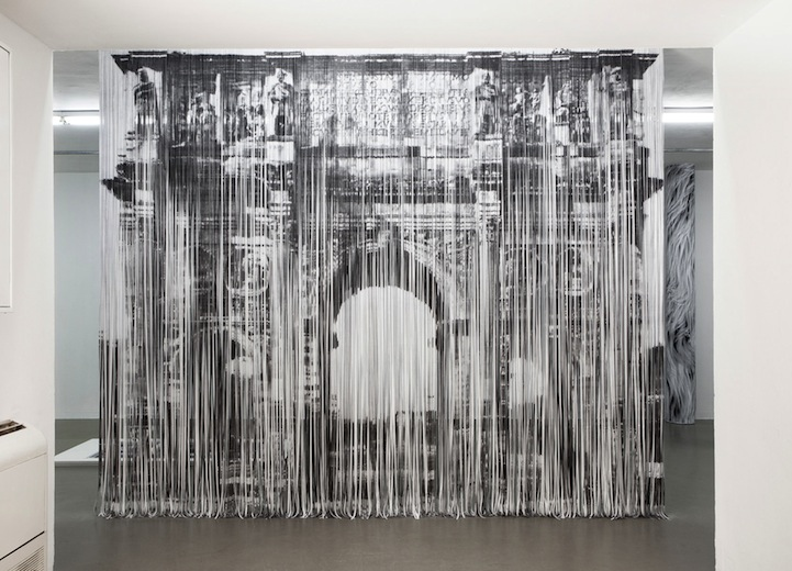 Shredded Paper Strips Form Larger Landscapes