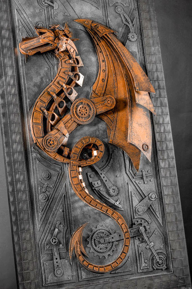 Vintage Steampunk Sculptures Made of Cardboard Dragon
