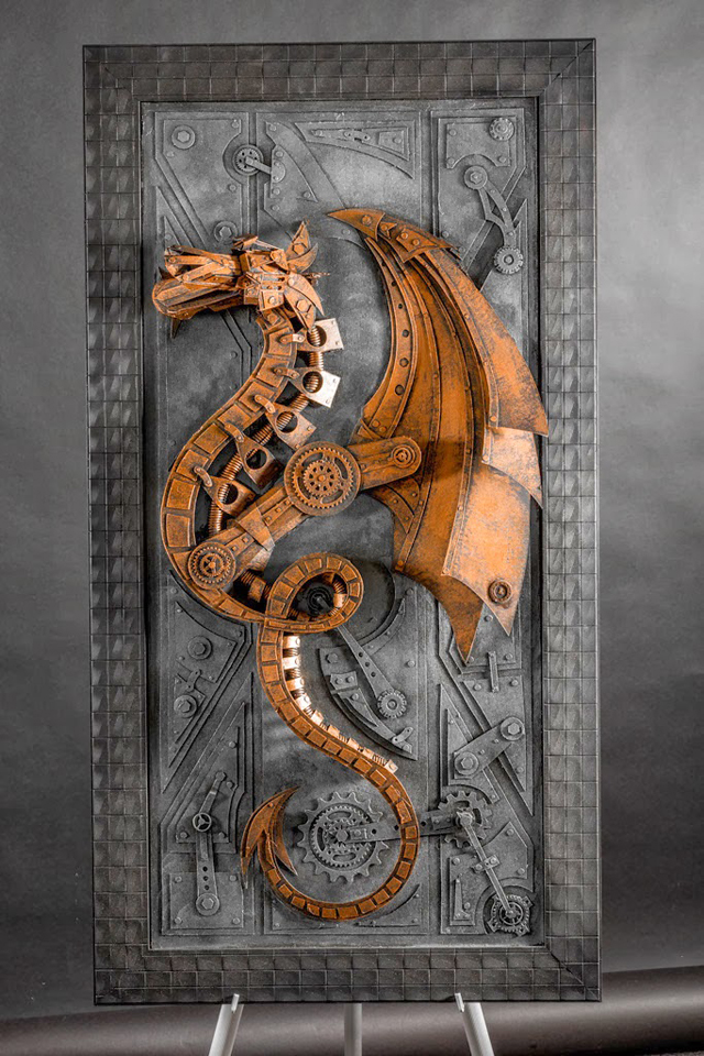 Vintage Steampunk Sculptures Made of Cardboard strictlypaper