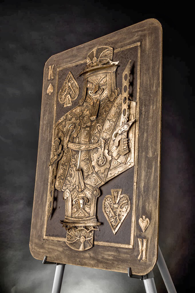 Vintage Steampunk Sculptures Made of Cardboard King of Spades