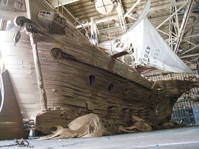 Life-Sized Pirate Ship Made Entirely Of Cardboard