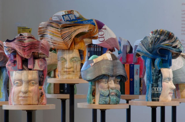 Recycled Book Sculptures By Long-Bin Chen Colorful