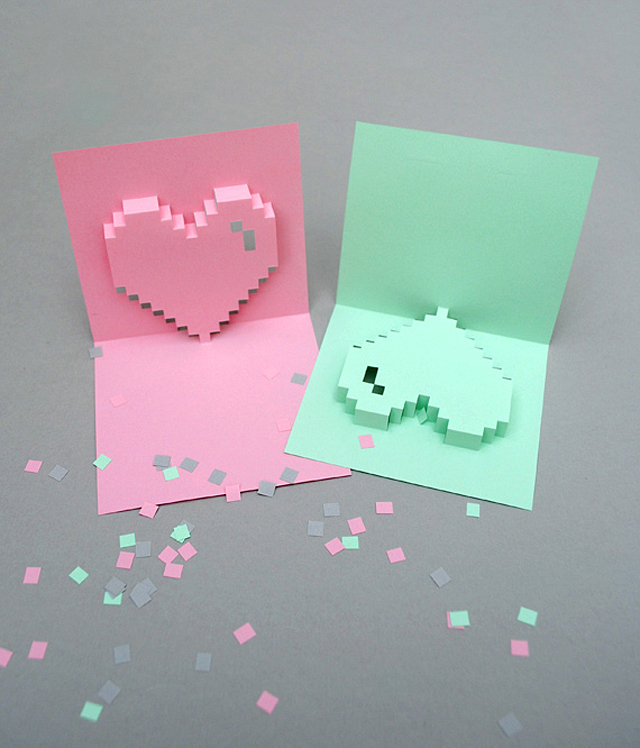 Pop-Up Pixel Valentine's Card