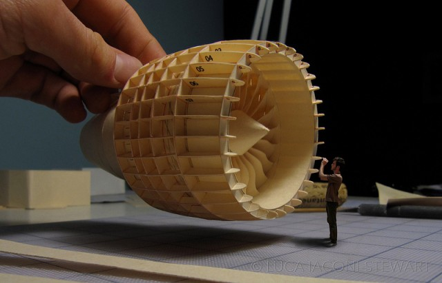 A 1:60-Scale Boeing 777 Made Entirely From Paper Manilla Folders Engine
