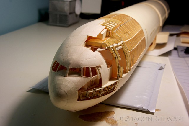 A 1:60-Scale Boeing 777 Made Entirely From Paper Manilla Folders Front Exterior