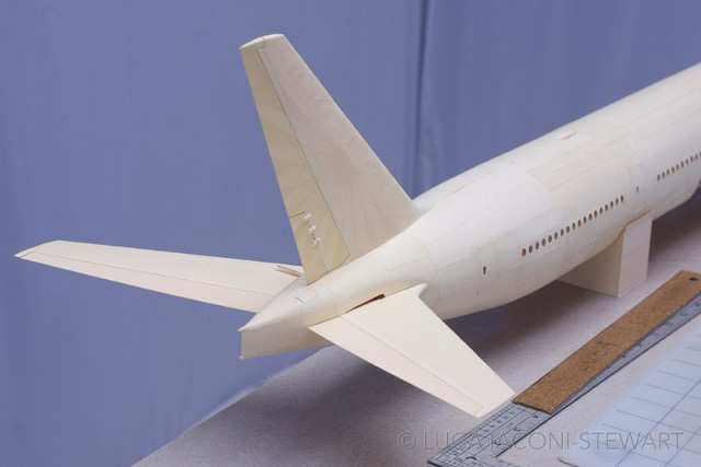 A 1:60-Scale Boeing 777 Made Entirely From Paper Manilla Folders Tail