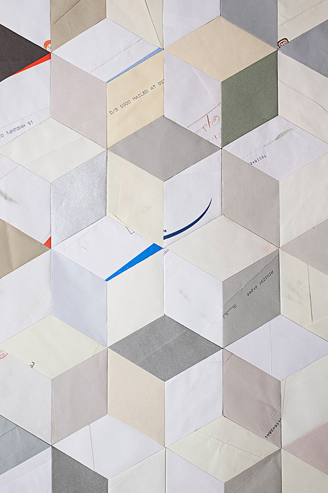 Paper Envelopes Made Into Geometric Quilts 3 Detail