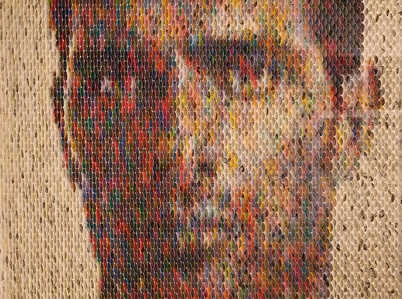 Realistic Portraits Made From Paint Chips