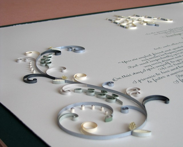 Quilled Designs by Ann Martin of All Things Paper Wedding Certificate