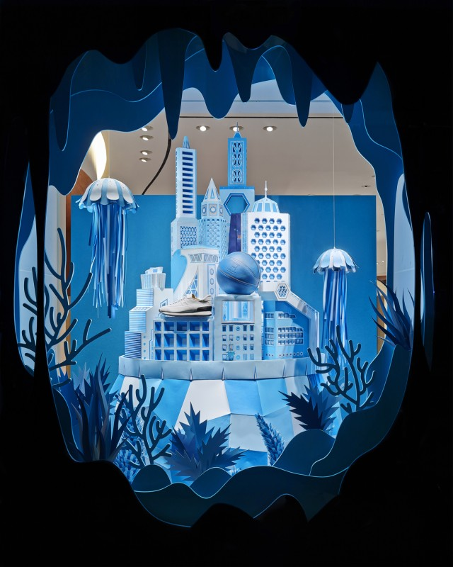 Hermes Atlantis Paper Craft Blue Window Display