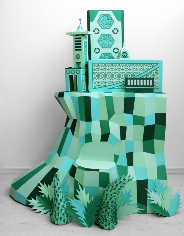 Hermes Atlantis Paper Craft Window Display Green City