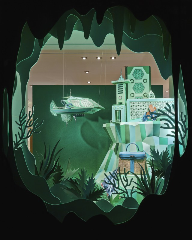 Hermes Atlantis Paper Craft Green Window Display