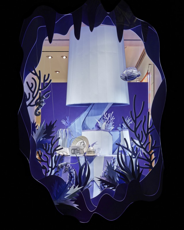 Hermes Atlantis Paper Craft Purple Window Display
