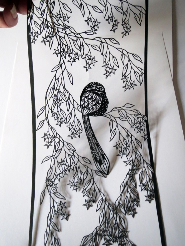 Paper Cut Birds in Nature by Clare Lindley Long Tail Detail