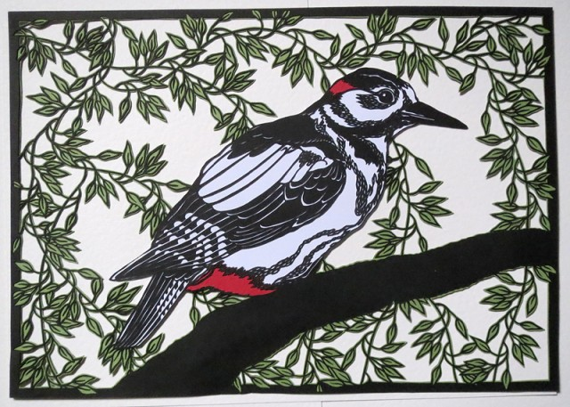 Paper Cut Birds in Nature by Clare Lindley Woodpecker