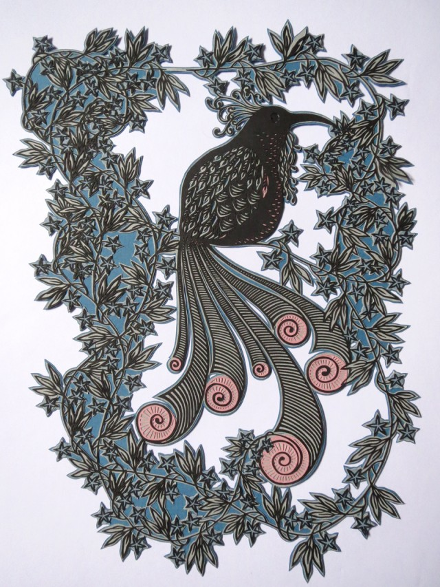 Paper Cut Birds in Nature by Clare Lindley Paradise