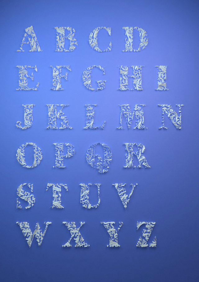 Quilled Paper Alphabet by Dan Hoopert No Frame