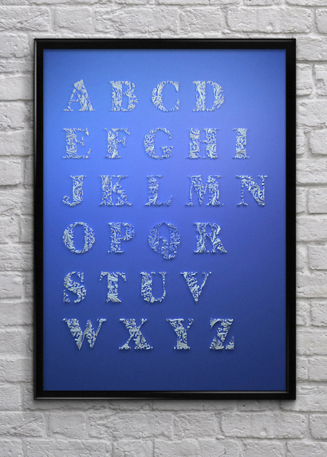 Quilled Paper Alphabet by Dan Hoopert Frame