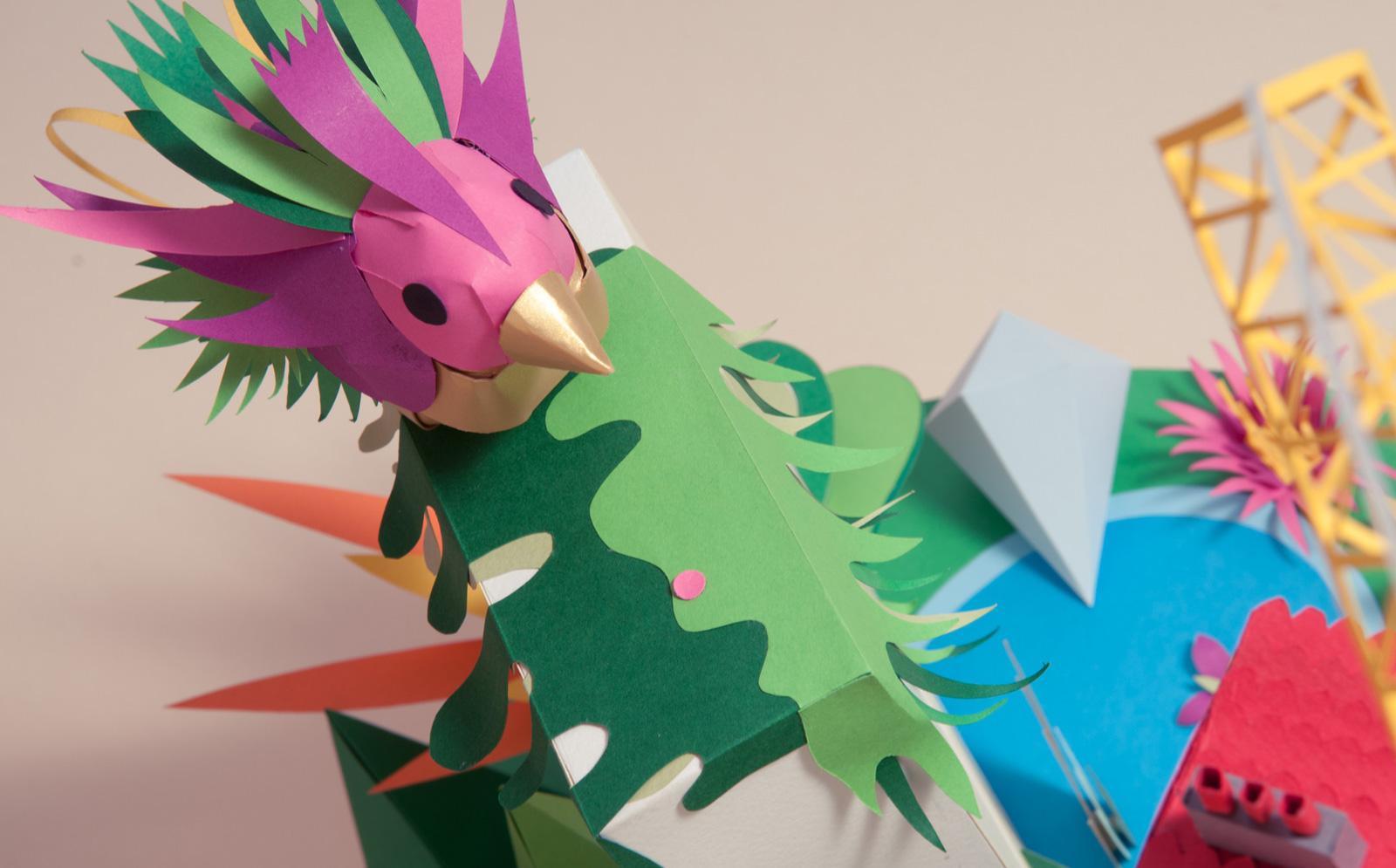 Ink-Studio-2015-Paper-Craft-Wallpaper-Bird-Close-Up