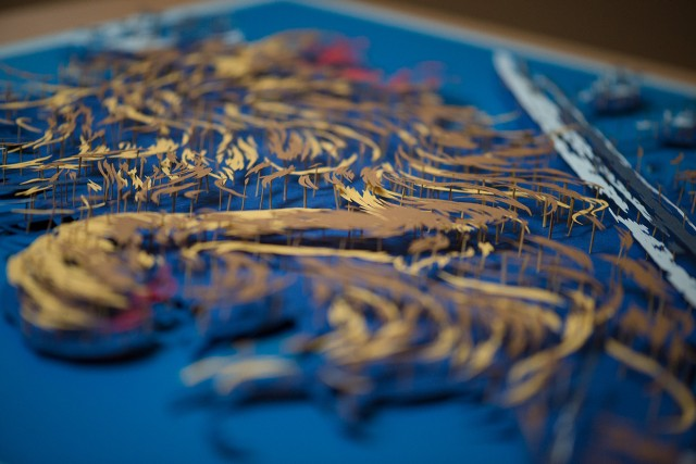 Paper Cut Illustration of Netherlands Coat of Arms Making Of
