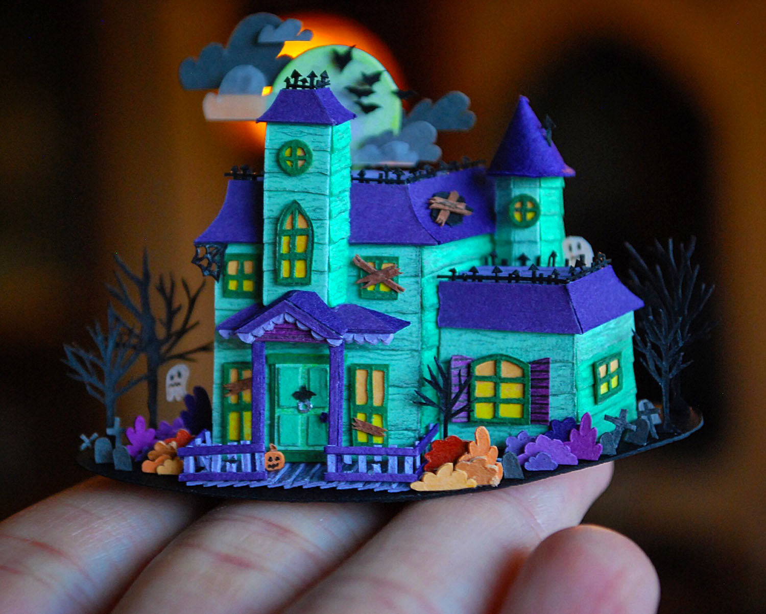 Cameron-Garland-Miniature-Paper-House-Haunted house
