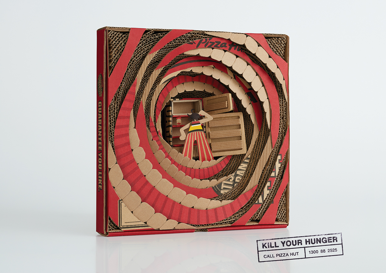 Bold and Loud Cardboard Sculptures for Pizza Hut Ad Campaign