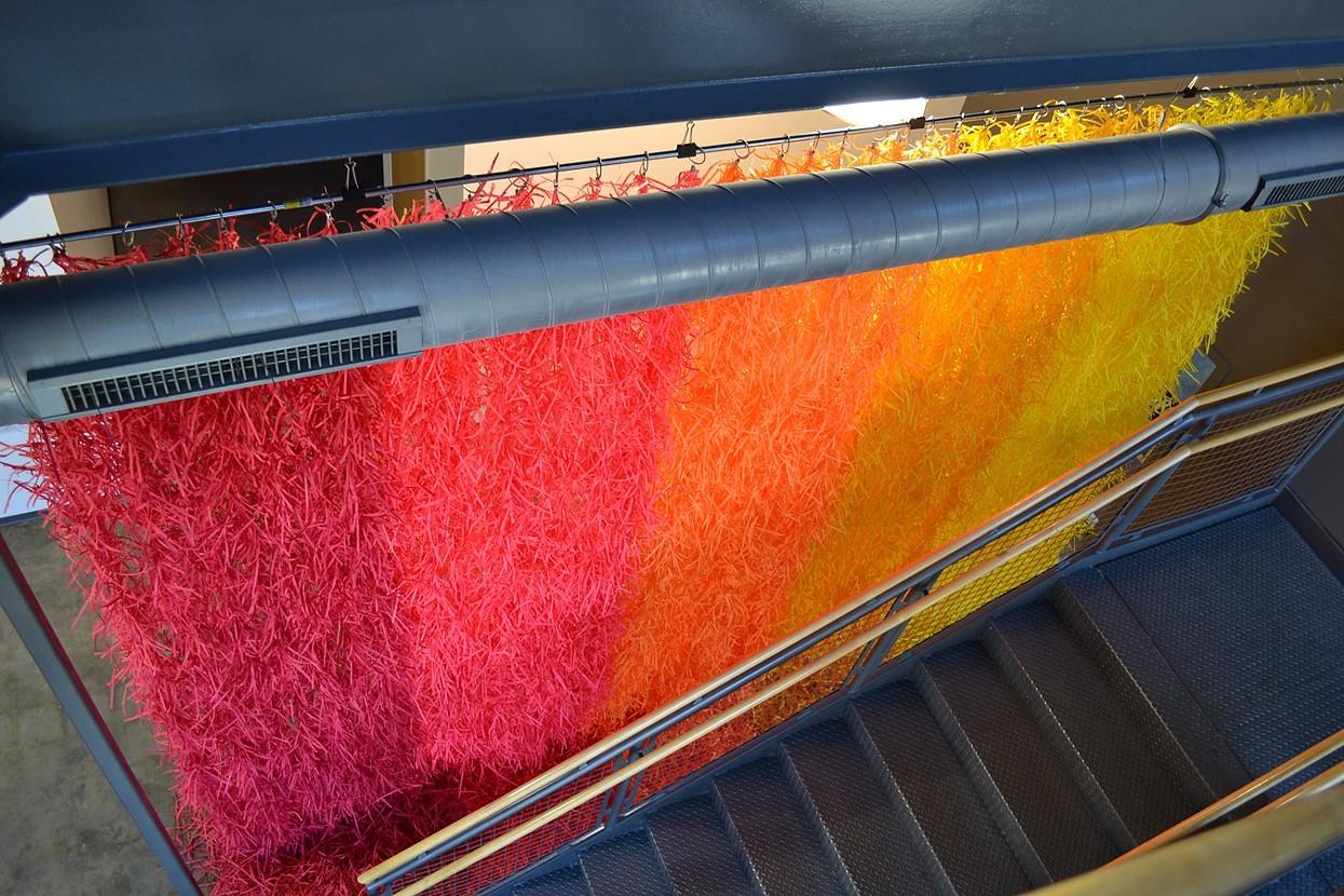 Travis-Rice-Paper-Shredded-Installation-Rainbow-Waterfall2