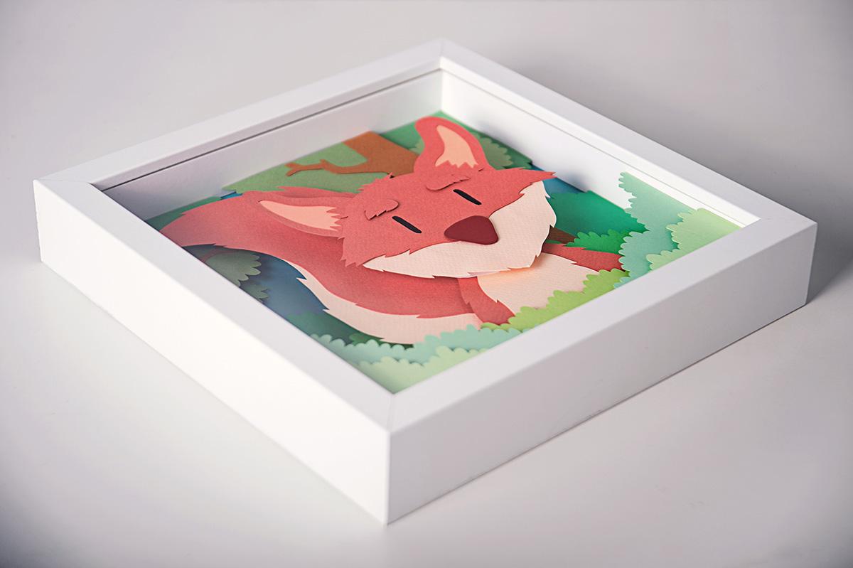 Whimsical Paper Animal Illustrations Vaclav Bicha  Strictlypaper Fox_side