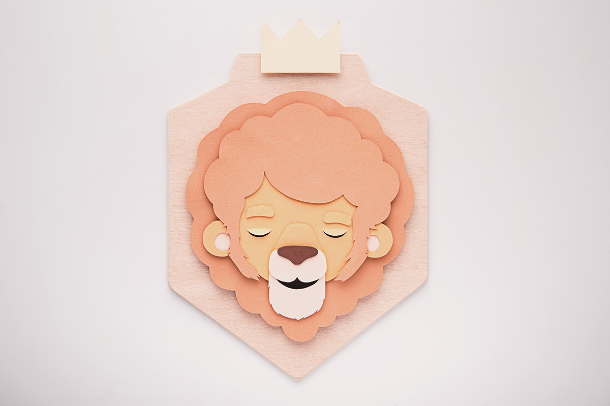 Whimsical Paper Animal Illustrations Vaclav Bicha  Strictlypaper Lion_front