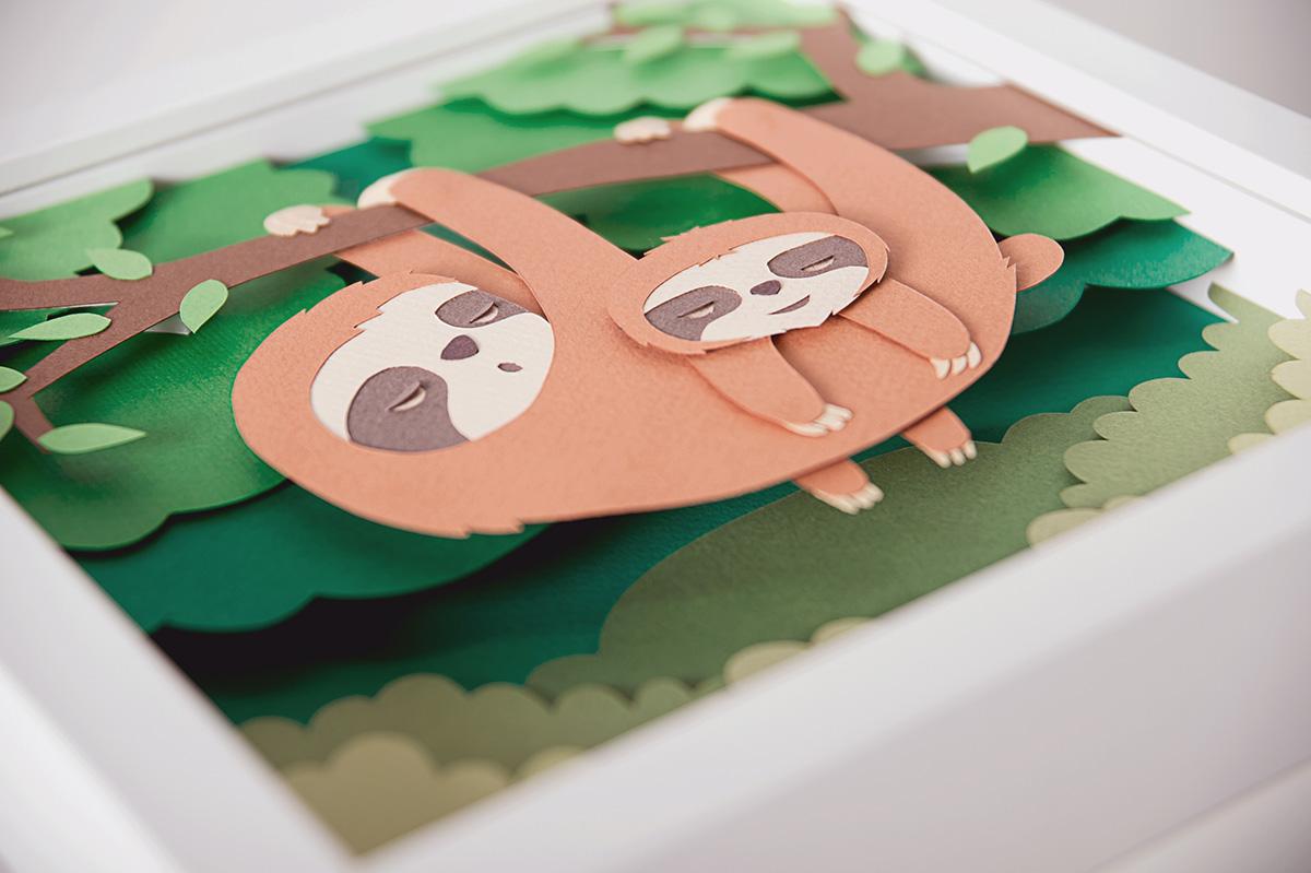 Whimsical Paper Animal Illustrations Vaclav Bicha  Strictlypaper Sloth_side