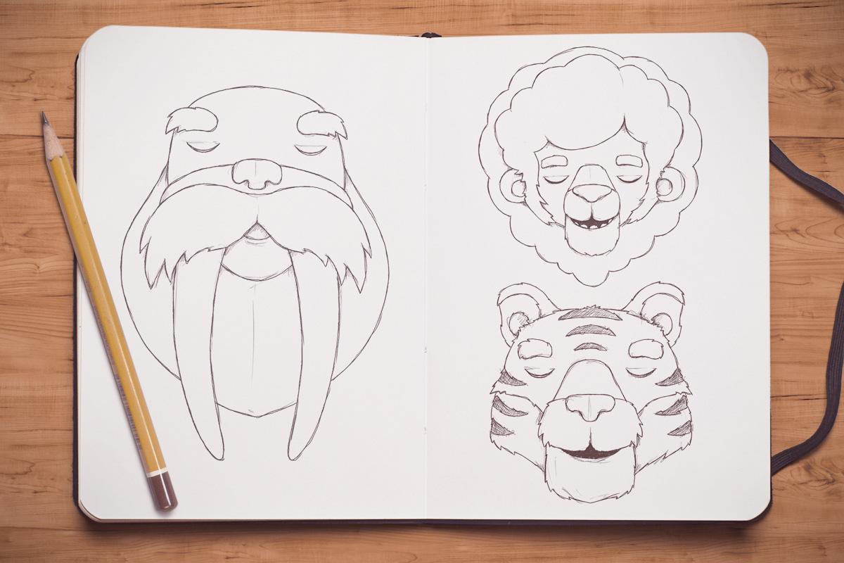 Whimsical Paper Animal Illustrations Vaclav Bicha  Strictlypaper  Walrus_lion_tiger_sketch